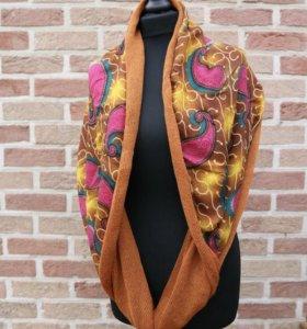 Снуд-шарф ручной работы из натуральной пряжи.