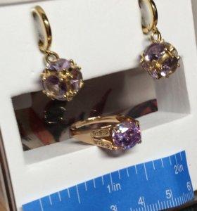 Кольцо и серьги комплекты из золота 585 с камнями