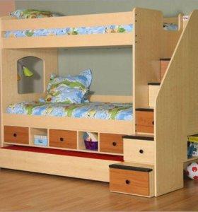 Детская двухэтажная кровать с ящиками