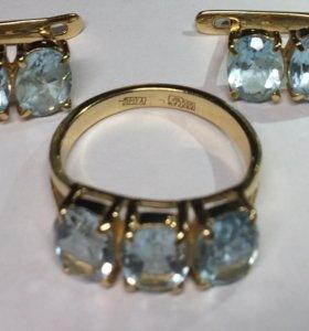 Серьги Кольца 585 золото с камнями