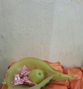 Ваза для фруктов 35 см цветное стекло