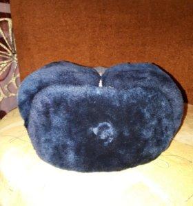 Шапка ушанка меховая синяя