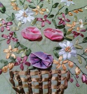 Чехлы на подушки вышивка лентами