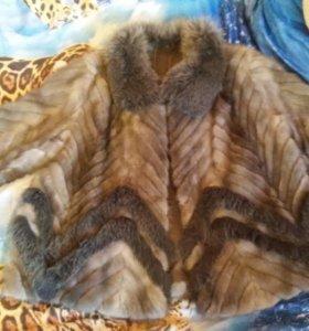 шуба из хвостиков голубой норки 48-52 размер