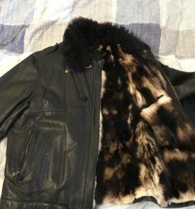Зимняя куртка кожаная на нат. меху.