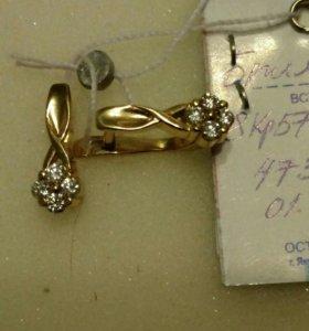 Серьги золотые с бриллиантами, цены ломбард
