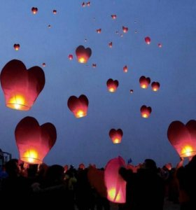 Небесные фонарики в форме сердца