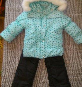 Новый тёплый зимний комбинезон: куртка и брюки 86