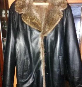 Куртка кожанная зимняя мужская