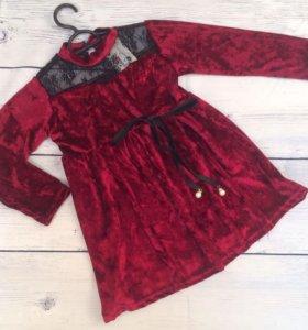 Бархатное платье детское в бордовом цвете
