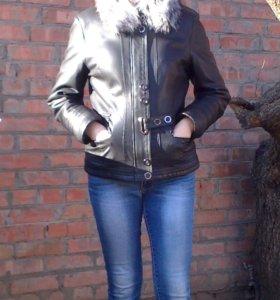 Зимняя, кожаная женская куртка