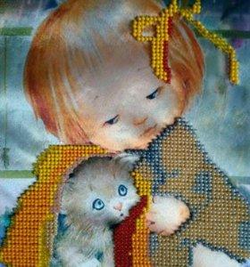 """Картина бисером """"Девочка с котёнком"""""""