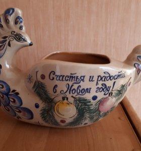 Глиняная ваза ручной работы