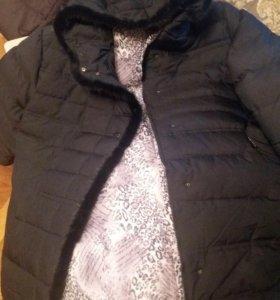 Элегантная зимняя куртка с норкой большие размеры