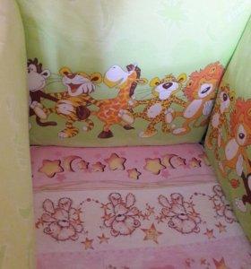 Бортики на детскую кроватку со сьемным чехлом