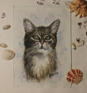 Картина акварелью. Кошка с глазами дракона.