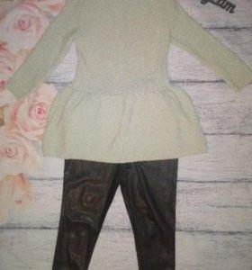 Вязаная блуза с баской нежно - мятного цвета,42-44