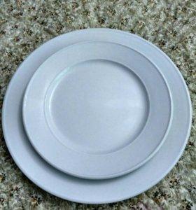 Тарелка белая сервировочная 17,5 см и 23 см