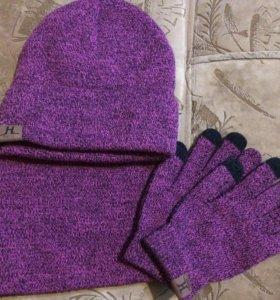 Шапка шарф перчатки. Новые!!!