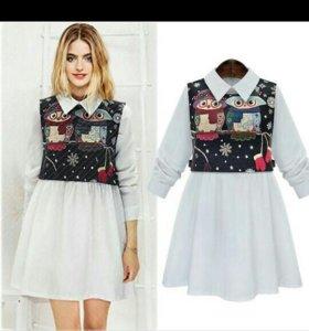 Платье рубашка+жаккардовая жилетка
