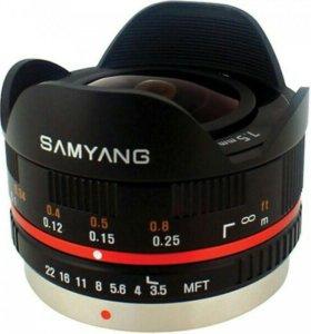 Объектив фишай 7.5 мм samyang для м4/3