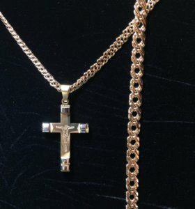 Дорогой комплект: цепочка, браслет, крестик