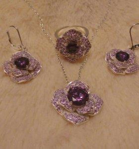Комплект серьги,кольцо,кулон с цепочкой