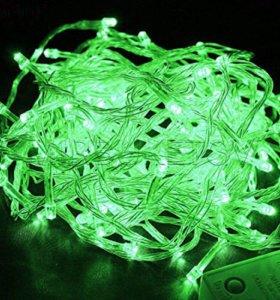 Светодиодная гирлянда-бахрома зеленая 4.8x0.6m