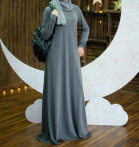 Платье трикотаж серый хиджаб