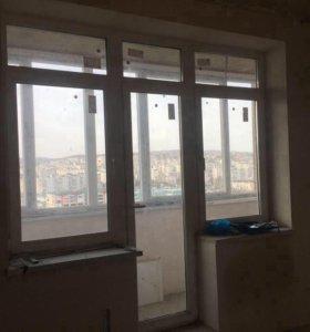 Балконный блок с 2-я окнами Rehau
