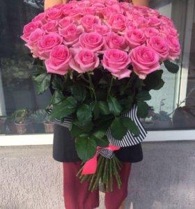 101 розовая роза Ревиваль 80 см с доставкой