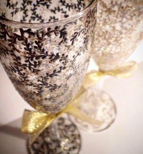 Свадебные,праздничные,именные бокалы