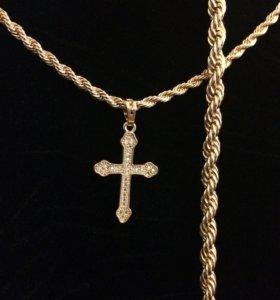 Изящный комплект: цепочка, браслет и крестик
