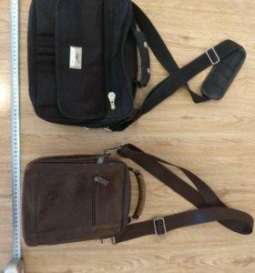 Мужская коричневая сумка б/у