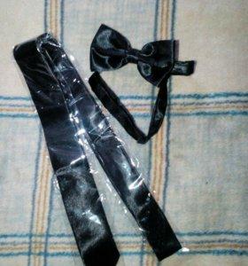 Комплект галстук(узкий) -бабочка черные