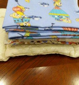 Комплекты детского постельного белья+ подушка