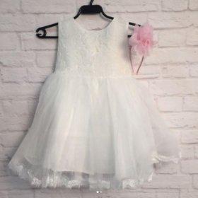 Белое нарядное платье детское