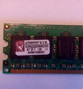 DDR2 1GB PC-6400KVR800D2N6/1G Kingston 2шт