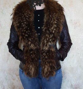 кож куртка с натуральным мехом