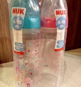 Новый набор бутылочек фирмы Nuk от 6-18 мес по 250