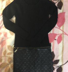 Платье вязанное с кожаным низом