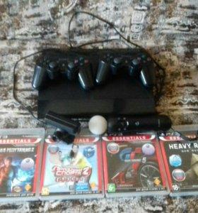 Playstation 3 super slim, 2 геймпада + 4 игры