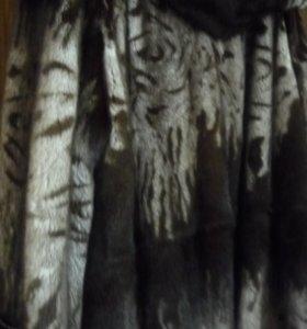 шуба норковая светло беж с темно-коричневым