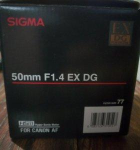 Объектив sigma 50mm F1.4 EX DG для canon