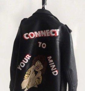 Кожаная куртка с ручной росписью
