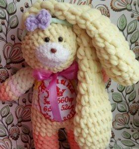 Именная игрушка / Плюшевый зайчик зефирный зайка