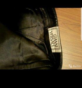 Versace оригинал, кожаные брюки