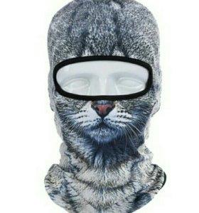Мото подшлемник с рисунком кошки
