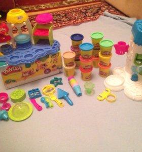 Play doh фабрика мороженого, пирожного + пластилин