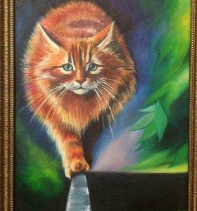 «Рыжий кот» маслом картина